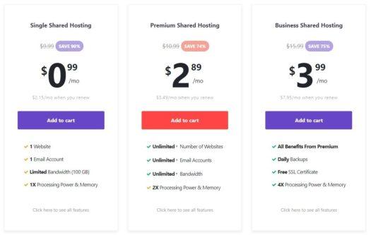 Hostinger shared hosting pricing and plans