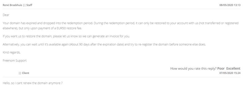 freenom domain expired