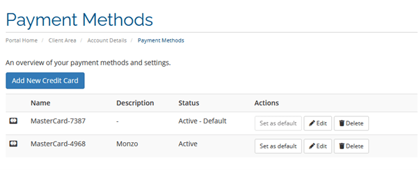 How to edit your payment methods