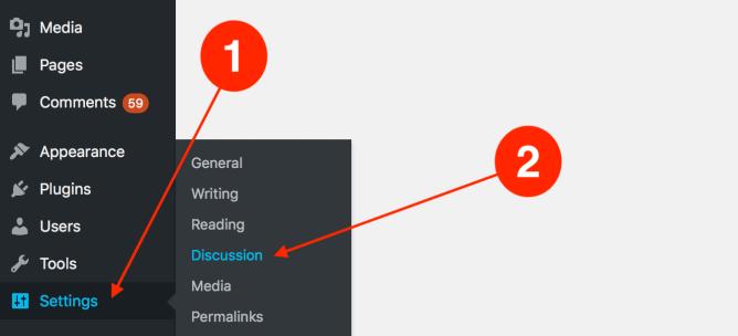 How to access the WordPress settings tab