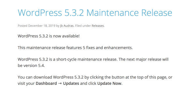 Example of a new WordPress maintenance release