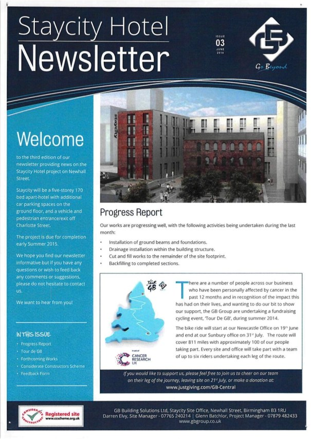 Staycity Hotel Newhall Square Newsletter 3 June 2014