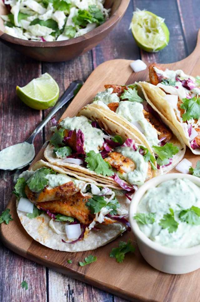 Blackened Fish Tacos With Avocado Cilantro Sauce These Were Some Of The Best