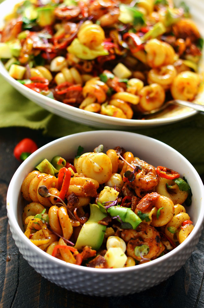 Smoky Shrimp Pasta Salad with Chipotle-Honey Vinaigrette. This is the holy grail of pasta salad, guys. Bring this to a barbecue or picnic and it'll be the star of the show, I guarantee you that. Those avocado ribbons just melt in your mouth. | hostthetoast.com