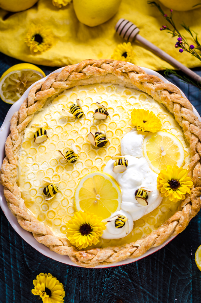 Honey Lemon Chiffon Pie. This sweet warm-weather pie is full of billowy citrus filling and uses some simple techniques to make chocolate bees and a honeycomb top! | hostthetoast.com