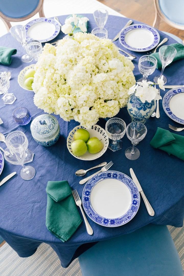 Blue, White & Green Tablescape