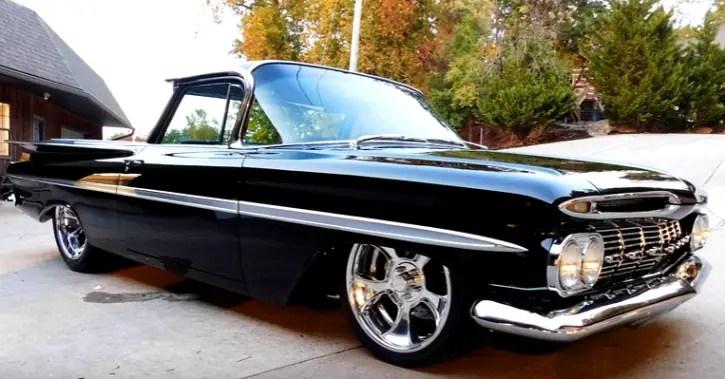 Black 1959 chevy el camino hot rod