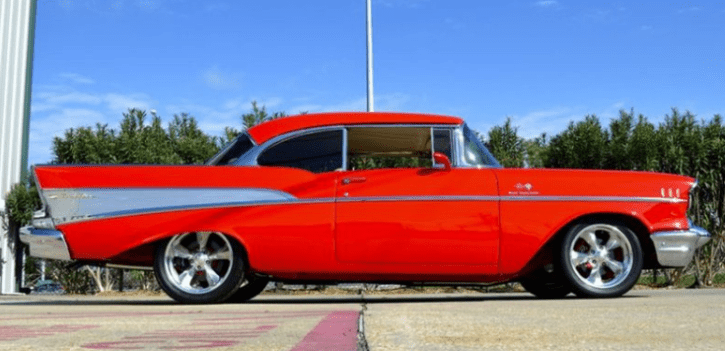 viper red 1957 chevy belair custom