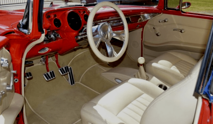 smoking hot 1957 chevy belair custom in viper red hot cars. Black Bedroom Furniture Sets. Home Design Ideas