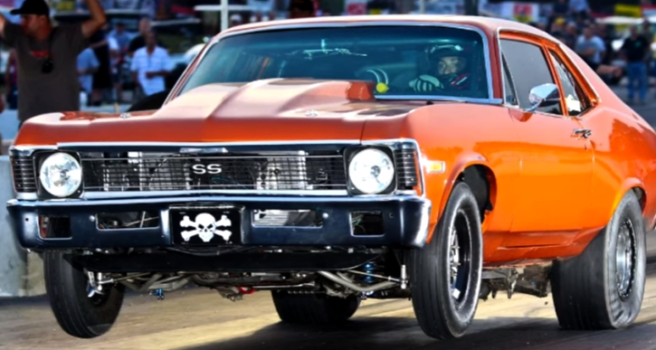 7 second procharged chevy nova drag racing