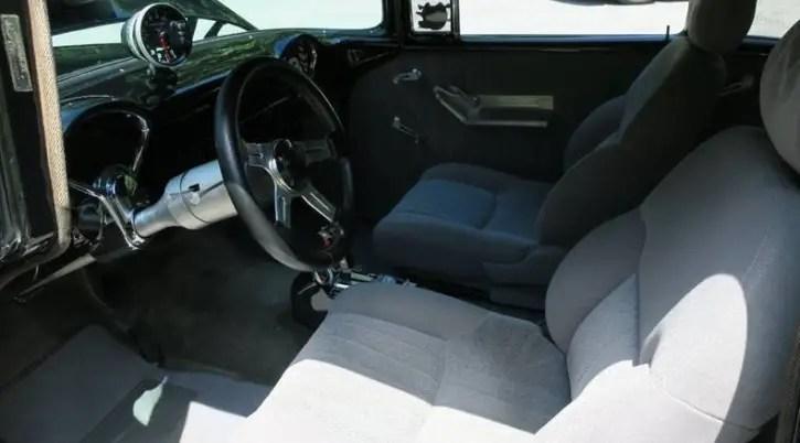black 1955 chevy 502 big block v8 engine