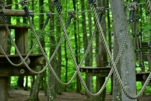 Hemp rope being used for an outdoor climbing adventure park