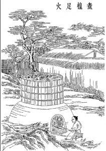 Ancient Chinese paper making technique. Softening the fibers to create the pulp.