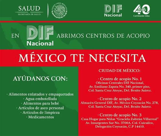¿Cómo ayudar a las víctimas del temblor del pasado 7 de septiembre en México? - difnacional