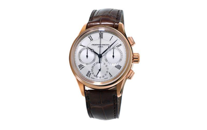 Flyback Cronograph Manufacture - Frederique-Constant-carátula-blanca-piel-café