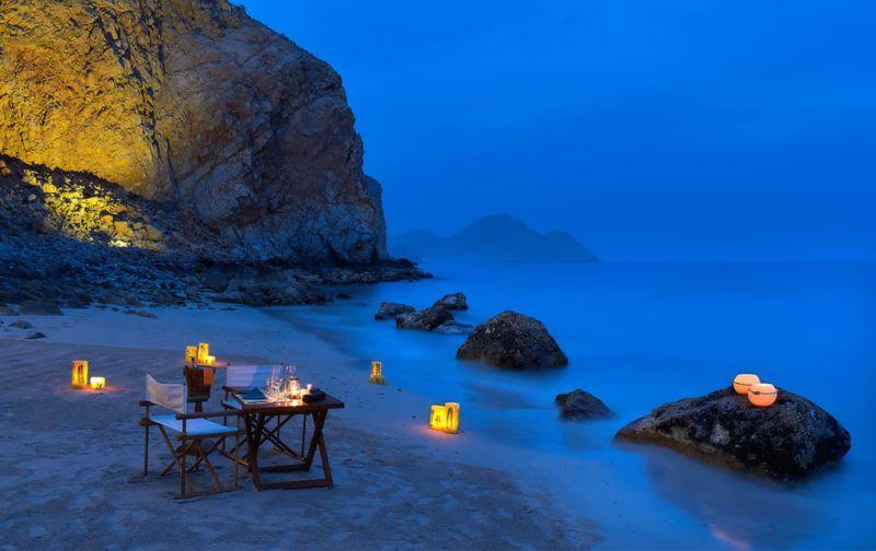 Six Senses Zighy Bay Resort. Lujo y relajación en el sureste de la península arábiga. - romantic-dinner