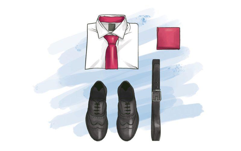 Vestimenta para hablar en público - vestimenta-formal-ilustracion-zapatos-corbata-cinturon