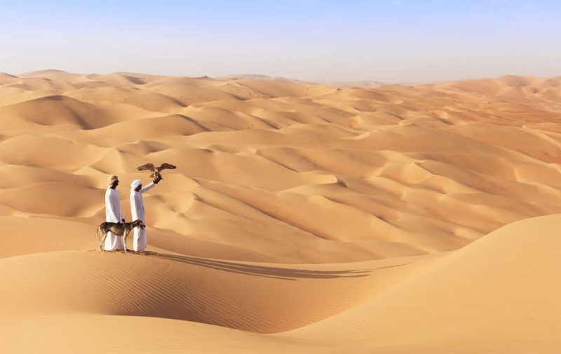 Anantara, un resort de lujo en Abu Dabi - hotbook_anantara_desierto_caminata_hombres_turbantes_halcon_perro
