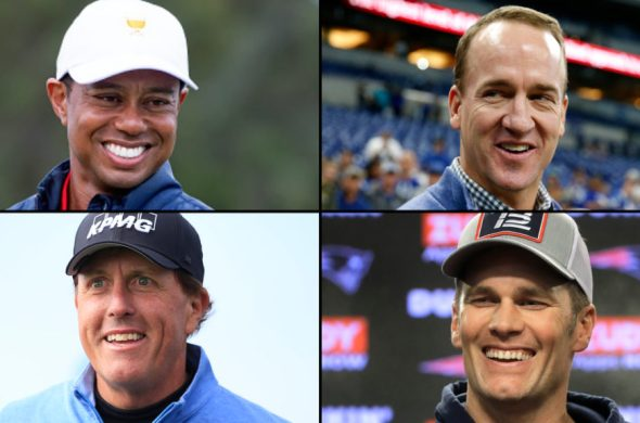 The Match: Champions for Charity. Tiger Woods, Tom Brady, Phil Mickelson y Peyton Manning