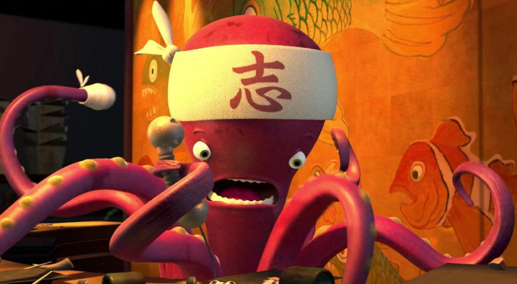 10 detalles que probablemente no habías notado en la película Monsters, Inc. - 3-pulpo-sushi-nemo-10-detalles-que-probablemente-no-habias-notado-en-la-pelicula-de-monsters-inc