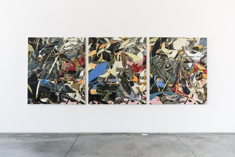 El increíble mundo artístico de  Omar Rodriguez-Graham - omarrodriguez-grahamthefolliesofmenoiloncanvas150x130cmx390cm2014