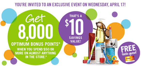 Screen Shot 2013 04 15 at 10.09.22 PM Shoppers Drug Mart Points Event: Get 8,000 Optimum Bonus Points On Your Purchase Of $50