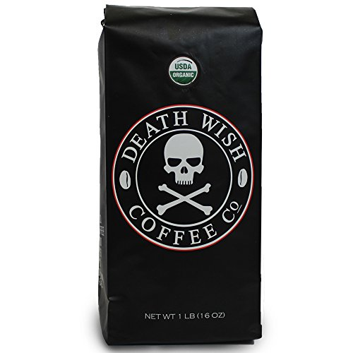 Death Wish Coffee, The World's Strongest Ground Coffee Beans, Fair Trade and Organic, 16 Ounce Bag