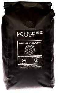 Koffee Kult Coffee Beans Dark Roasted – Highest Quality Delicious Organic Sourced Fair Trade – Whole Bean Coffee – Fresh Gourmet Aromatic Artisan Blend – 2 Lb Bag