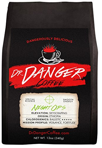 Dr Danger Coffee NIGHT OPS – DECAF Scientifically selected and roasted – whole bean – special reserve – 12oz