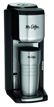 Mr. Coffee BVMC-SCGB200 Single Cup Coffeemaker with Built-In Grinder, Black