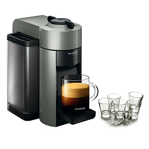 Nespresso VertuoLine Evoluo Grey Coffee and Espresso Maker with Free Set of 6 Espresso Glasses