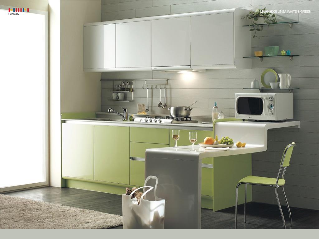 Green Kitchen Modern Interior Design Ideas With White