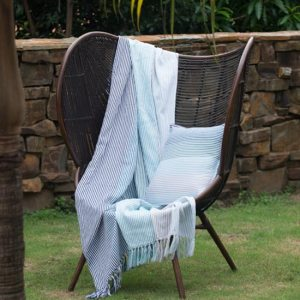 Aranda Pinstripe Throw South Bay Teal Oyster 150 x 200cm