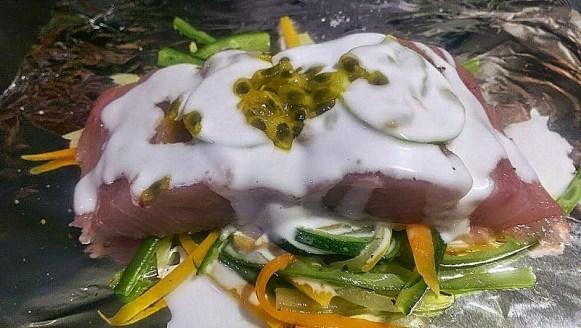 Papilllote de daurade aux agrumes et fruits de lapassion