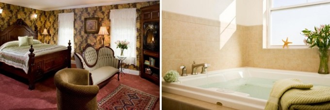 Room with a whirlpool tub in Wilbraham Mansion hotel, NJ
