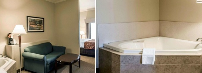 Suite with a Whirlpool in the room in Comfort Suites Cincinnati North hotel
