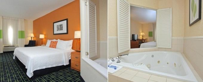 Hot Tub room in Fairfield Inn and Suites Jacksonville Beach, Florida hotel