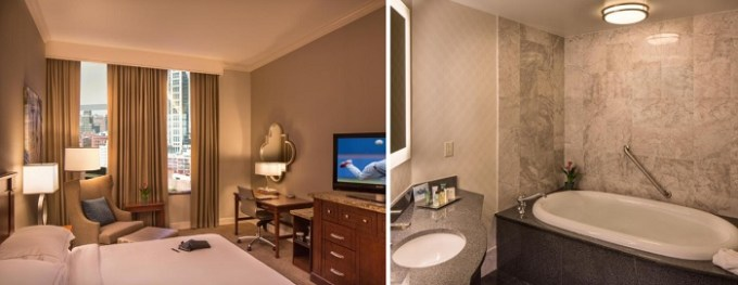 Room with a private whirlpool tub in Hilton St. Louis Downtown at the Arch, MO
