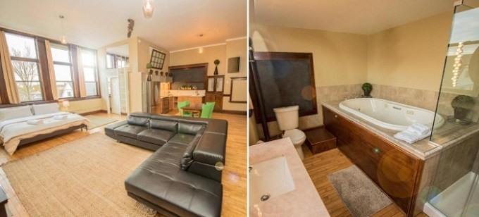 Suite with a jetted tub in School 31 Lofts in Rochester, NY
