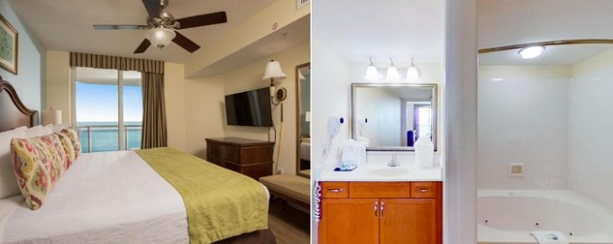Oceanfront suite with a whirlpool tub in Bahama Sands Luxury Condominiums