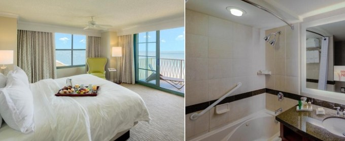 Oceanfront suite with a whirlpool tub in Hilton Virginia Beach Oceanfront Hotel, VA
