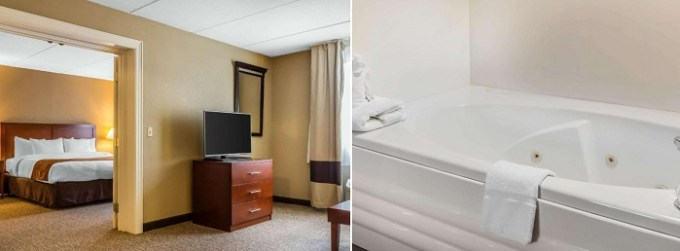 Suite with a whirlpool tub in the room in Comfort Suites Norwich, CT