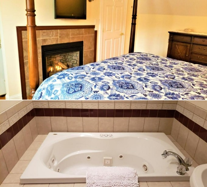 Hot tub suite with a fireplace in Elmere House Bed & Breakfast, Wells Beach, Maine