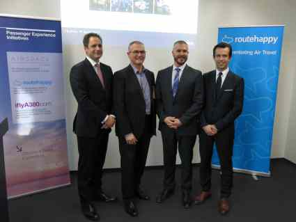 Photo (L-R): Neil Glenn, General Manager Europe, Cathay Pacific; Bob Lange, Head of Market and Product Strategy, Airbus; Robert Albert, CEO, Routehappy; and Xavier Lagardère, Head of Distribution, Lufthansa Group Hub Airlines