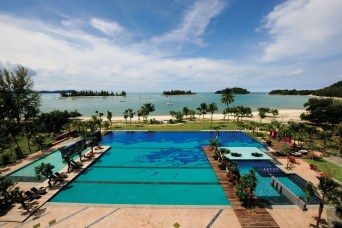 The Danna Pool, Langkawi with beach just behind, sea and