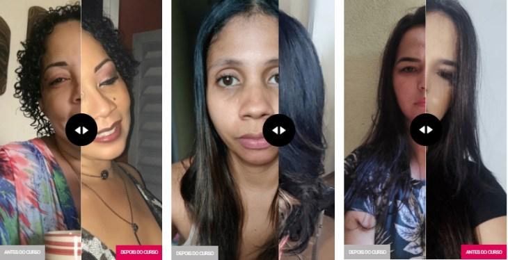 Curso de Automaquiagem Thais Braz antes e depois