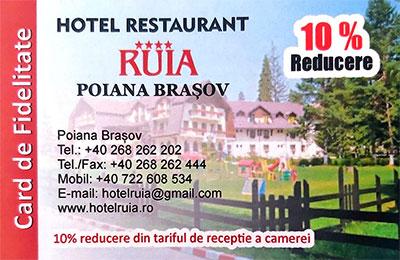 Card fidelitate Hotel Ruia Poiana Brasov