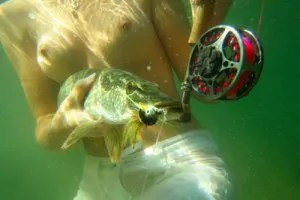 Girl topless fly fishing for Pike