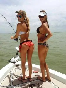 Two hot girls fishing