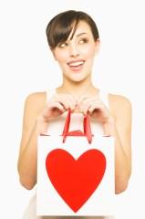 Woman holding Valentine's present
